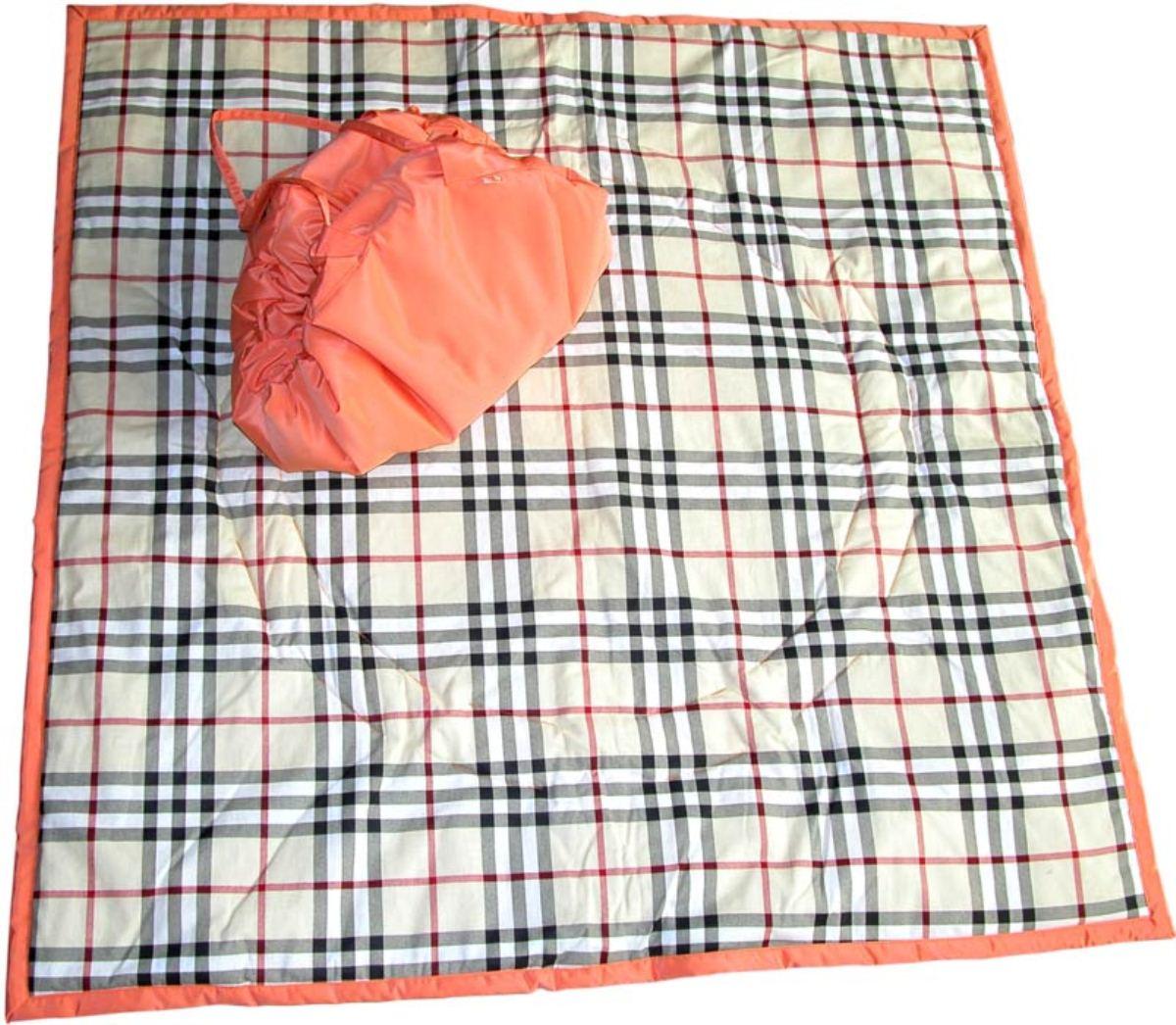 Чудо-Чадо Переносной коврик-сумка цвет оранжевый бежевая шотландка - Сумки для мам