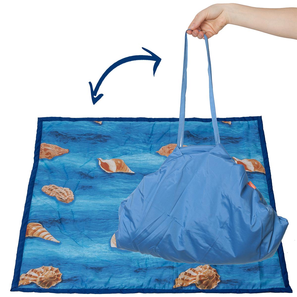 Чудо-Чадо Переносной коврик-сумка цвет синий ракушки - Сумки для мам
