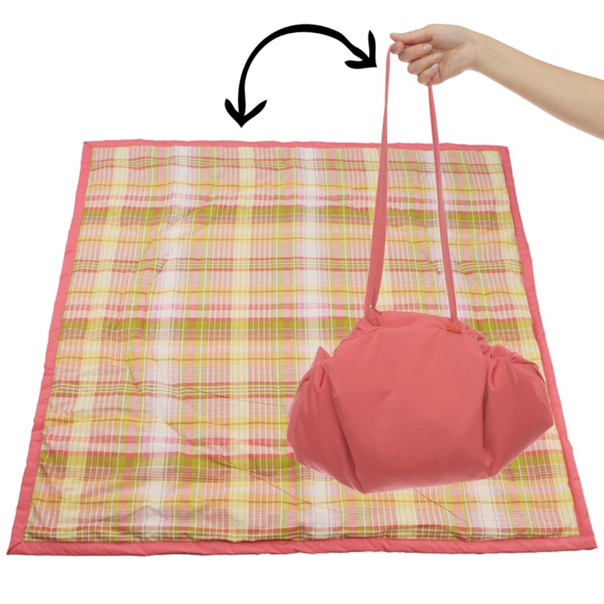 Чудо-Чадо Переносной коврик-сумка цвет коралловый клетка - Сумки для мам