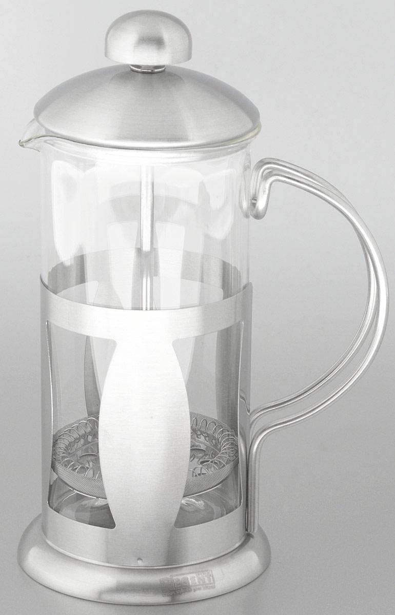 Френч-пресс Regent Inox Franco, 0,35 л93-FR-09-01-350Френч-пресс Regent Inox Franco изготовлен из высококачественной нержавеющей стали и жаропрочного стекла. Фильтр-поршень из нержавеющей стали выполнен по технологии press-up для обеспечения равномерной циркуляции воды. Засыпая чайную заварку или кофе под фильтр, заливая горячей водой, вы получаете ароматный напиток с оптимальной крепостью и насыщенностью. Остановить процесс заваривания легко, для этого нужно просто опустить поршень, и все уйдет вниз, оставляя вверху напиток, готовый к употреблению.Френч-пресс Regent Inox Franco позволит быстро и просто приготовить свежий и ароматный кофе или чай. Характеристики:Материал:нержавеющая сталь, стекло. Высота (с учетом крышки):18,5 см. Диаметр колбы по верхнему краю:7 см. Высота стенки колбы:14,5 см. Объем:350 мл. Размер упаковки:19,5 см х 9 см х 12 см.