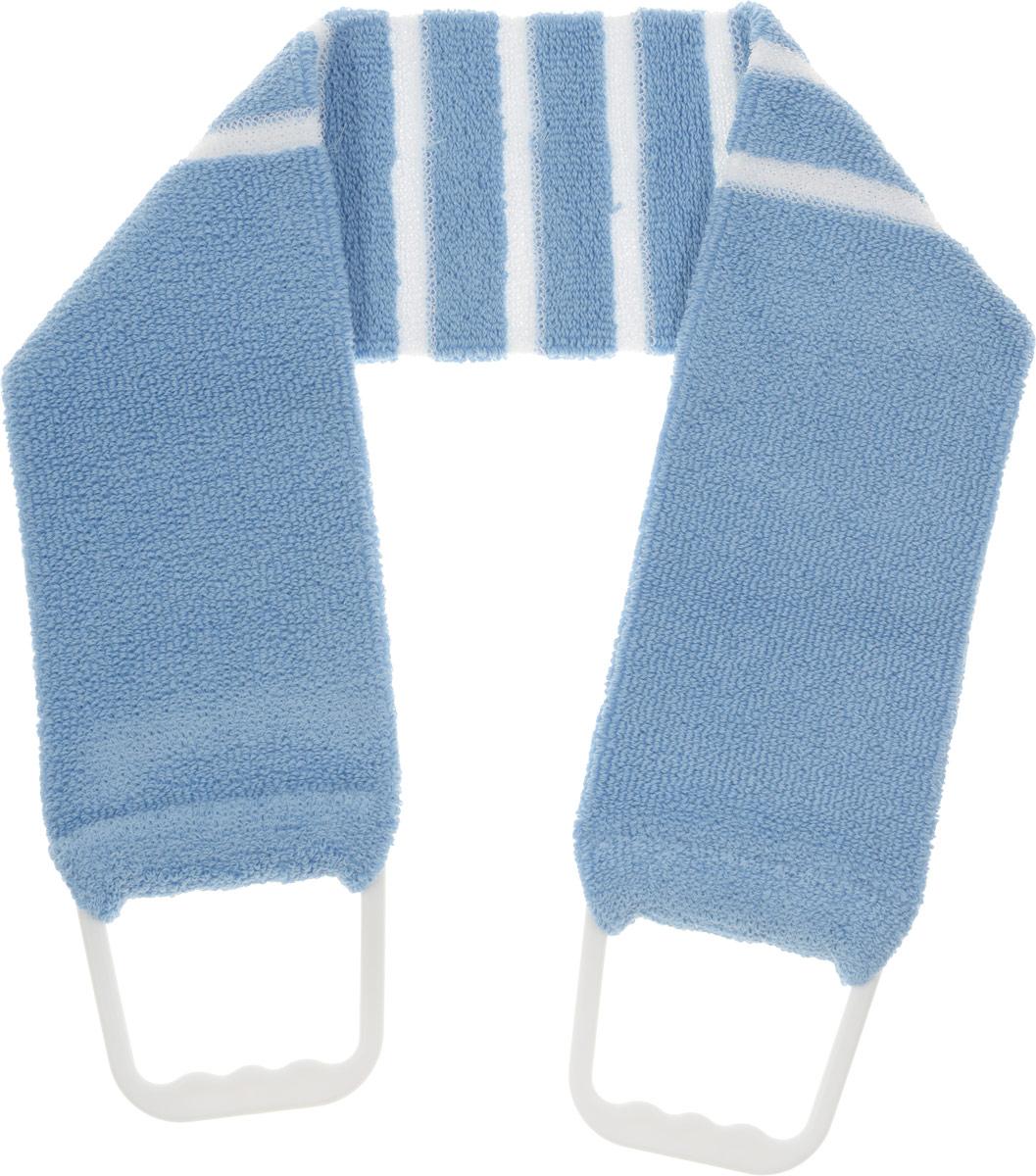 """Мочалка-пояс """"Riffi"""", мягкая, с массажными полосками, цвет: голубой"""