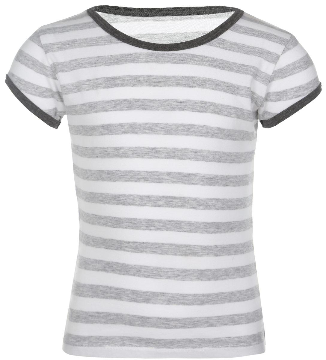 Футболка для девочки Lowry, цвет: серый меланж, белый. GF-130. Размер S (98/104) плавки мужские lowry цвет черный фиолетовый msb 1 размер l 48