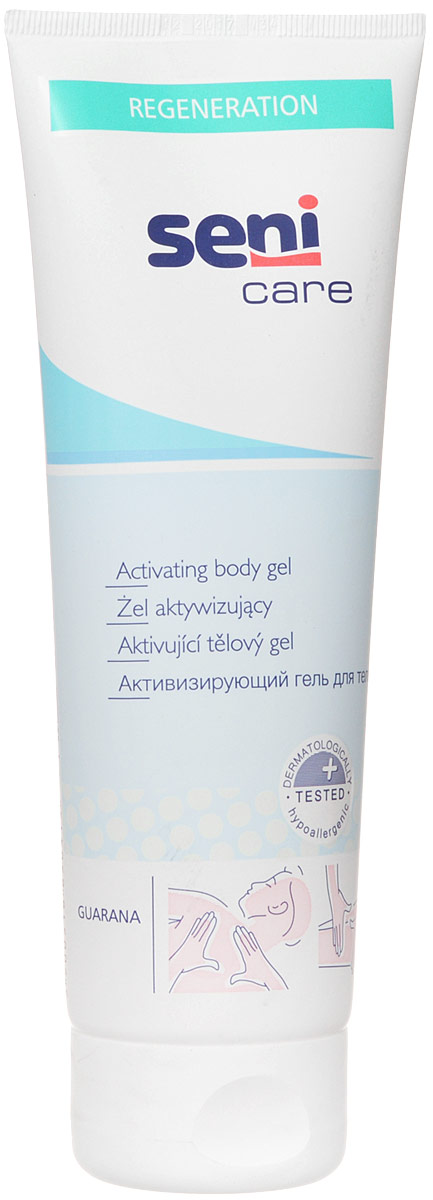 Seni Care Гель для тела активизирующий 250 млSE-231-T250-221Активизирующий гель для тела Seni Care улучшает микроциркуляцию крови в коже и активизирует обменные процессы в ней, увлажняет и успокаивает кожу, снимает мышечное напряжение. Содержит натуральные компоненты антисептического действия. Способ применения: нанести на предварительно очищенную сухую кожу легкими массирующими движениями. Можно применять 1-2 раза в день. Не наносить на поврежденную кожу. Характеристики:Объем: 250 мл. Размер упаковки: 4,8 см х 7,3 см х 19,8 см. Артикул: SE-231-T250-221. Товар сертифицирован.УВАЖАЕМЫЕ КЛИЕНТЫ! Обращаем ваше внимание на возможные изменения в дизайне упаковки. Поставка осуществляется в одном из двух приведенных вариантов упаковок в зависимости от наличия на складе. Комплектация осталась без изменений.