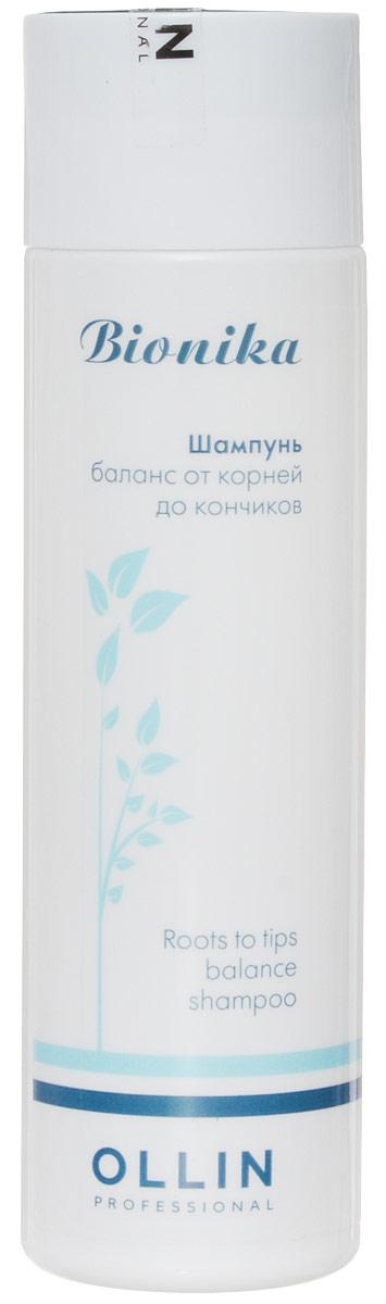 Ollin Шампунь Баланс от корней до кончиков BioNika Roots To Tips Balance Shampoo 250 мл728967Шампунь, нормализующий баланс кожи головы. Нежно и эффективно очищает волосы и кожу головы. Удаляет избыточны секрет сальных желез, препятствует его повторному образованию. Активные компоненты шампуня нормализуют работу сальных желез, увлажняют, питают волосы по длине, препятствуют сечению волос.Объём: 250 мл