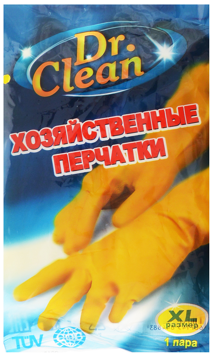 Перчатки хозяйственные Dr. Clean, цвет: желтый. Размер XL44883Универсальные перчатки Dr. Clean произведены из высококачественного латекса, бесшовные, с рифленой поверхностью рабочих частей, которая позволяет удерживать мокрые предметы. Перчатки подходят для различных видовдомашних работ. Перчатки эластичны, хорошо облегают руку.