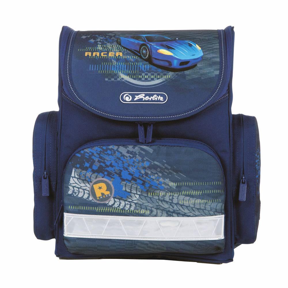 Herlitz Ранец школьный Blue Racer11408259Школьный ранец Herlitz Blue Racer выполнен из легкого и прочного материала.Ранец имеет одно основное отделение, закрывающееся на молнию с двумя бегунками. Клапан полностью откидывается, что существенно облегчает пользование ранцем. На внутренней части клапана находится прозрачный пластиковый кармашек, в который можно поместить данные о владельце ранца. Внутри главного отделения расположена мягкая перегородка для тетрадей или учебников. На лицевой стороне ранца расположен накладной карман на застежке-молнии. По бокам ранца размещены два накладных кармана на молнии.Ортопедическая спинка, созданная по специальной технологии из дышащего материала, равномерно распределяет нагрузку на плечевые суставы и спину. В нижней части спинки расположен поясничный упор - небольшой валик, на который при правильном ношении ранца будет приходиться основная нагрузка.Изделие оснащено удобной ручкой для переноски в руке и двумя широкими лямками, регулируемой длины. У ранца имеются светоотражатели. Дно ранца из прочного материала легко очищается от загрязнений.Многофункциональный школьный ранец станет незаменимым спутником вашего ребенка в походах за знаниями.Вес ранца без наполнения: 740 г.Рекомендуемый возраст: от 6 лет.