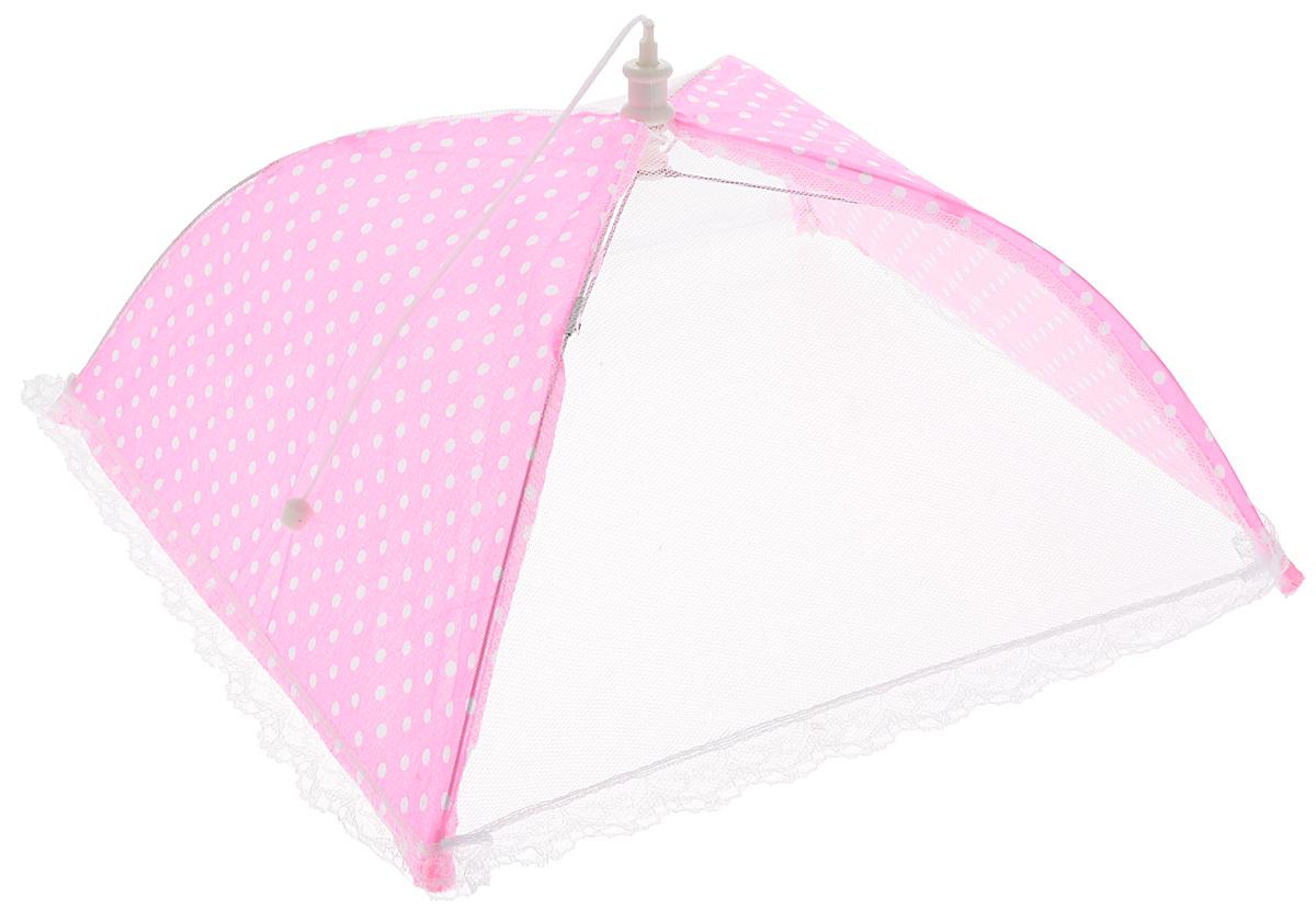 Зонт для продуктов Мультидом Горошек, цвет: ярко-розовый, белый, 35 х 35 х 20 см