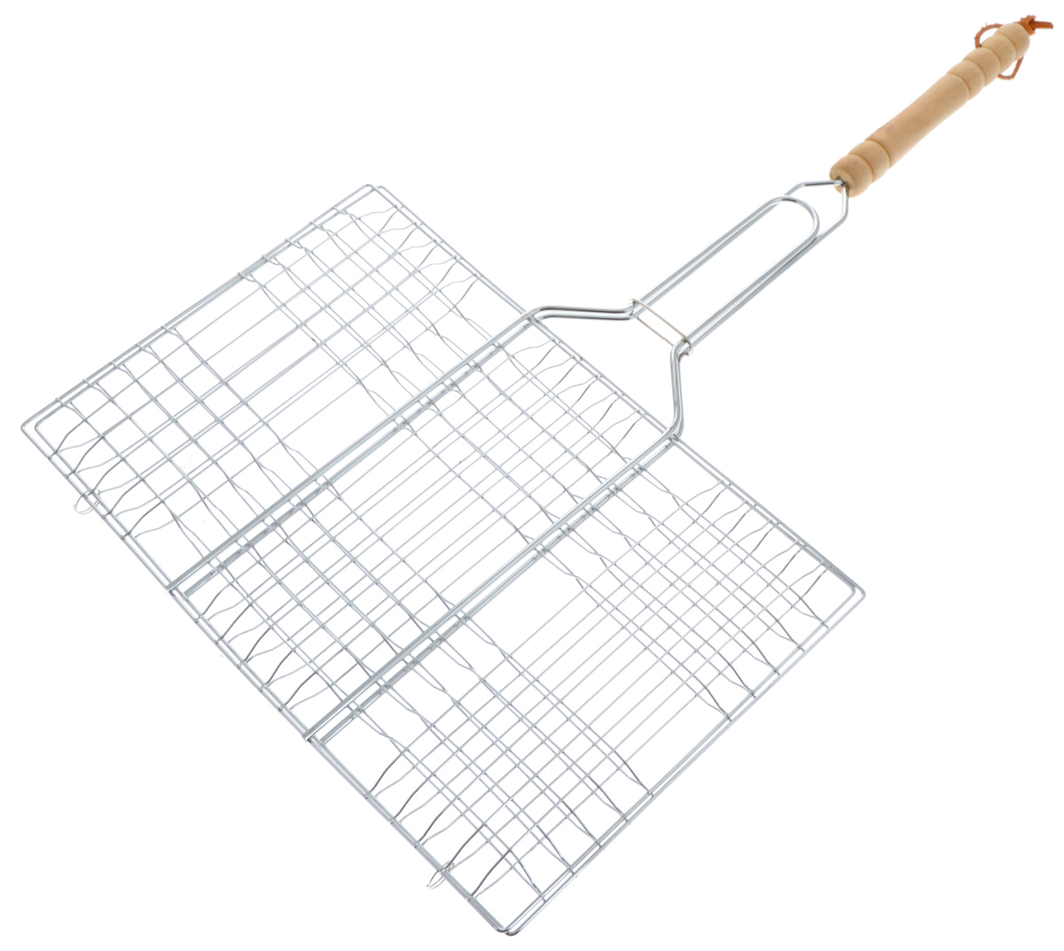 Решетка для барбекю Мультидом Отдых, 34,5 х 22,5 смAN84-23Решетка для барбекю Мультидом Отдых изготовлена из стальной проволоки. Ручка изготовлена из дерева и оснащена петелькой для удобного хранения. Решетка без бортиков снабжена зажимом, который гарантирует, что решетка не откроется, и продукты не выпадут. С помощью данного изделия вы сможете приготовить любой продукт, от тонких до крупных ломтиков, рыбу, мясо или овощи на углях. Изделие легко переворачивается. Такая решетка - отличное решение для использования на природе. Процесс готовки на углях соберет друзей вокруг огня, а вкус блюд нежных, сочных, с запахом дымка и специй, создаст незабываемую атмосферу праздника на вашем пикнике. Размер решетки: 34,5 х 22,5 см. Длина решетки (с ручкой): 55,8 см.