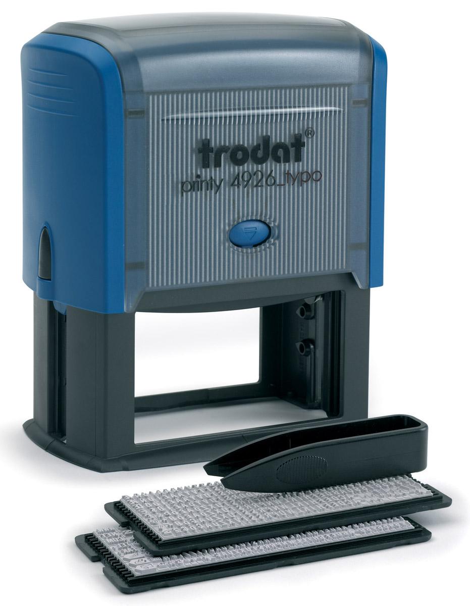 Trodat Штамп самонаборный восьмистрочный Typo 75 х 38 мм4926/DBСамонаборный русифицированный штамп Trodat с автоматическим окрашиванием будет незаменим в отделе кадров или в бухгалтерии любой компании. Прочный пластиковый корпус гарантирует долговечное бесперебойное использование. Модель отличается высочайшим удобством в использовании и оптимально ложится в руку благодаря эргономичной ручке. Оттиск проставляется практически бесшумно, легким нажатием руки. Улучшенная конструкция и видимая площадь печати гарантируют качество и точность оттиска. Символы надежно закрепляются в текстовой пластине (две ножки).Максимальное количество знаков в строке основного шрифта - 42, шрифта для выделения текста - 30. Максимальное количество строк - 8. Язык - русский.Модель оснащена кнопочным механизмом замены подушки. Сменную штемпельную подушку необходимо заменять при каждом изменении текста.В комплект также входят: сменная подушка, пинцет, 2 кассы символов.Trodat - идеальный штамп для ежедневного использования в офисе, гарантирующий получение чистых и четких оттисков. Идеально подходит к самым разным требованиям в повседневной офисной жизни.
