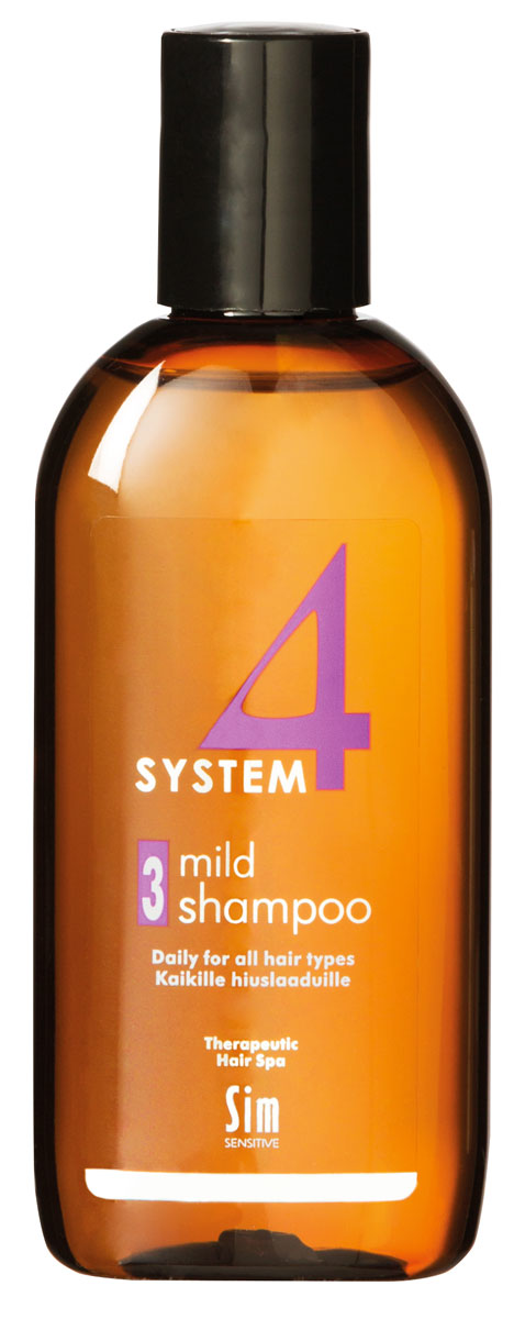 Sim Sensitive Терапевтический шампунь № 3 SYSTEM 4 Mild Climbazole Shampoo 3,100 мл5413КАК РАБОТАЕТ:шампунь рекомендуется для чувствительной кожи головы. Сали-циловая кислота мягко очищает, климбазол и пироктон оламинвосстанавливают микрофлору кожи головы. Гидрогенол снимаетраздражение, увлажняет и защищает волосы от воздействия уль-трафиолетовых лучей. Ментол и розмарин способствуют улучше-нию питания волосяного фолликула за счет своих стимулирующихи дезинфицирующих свойств. рН-4,7. Успокаивает кожу головыпосле окрашивания.БОРЕТСЯ С:раздражениемкожи головы и с элементами перхотис чувствительностью кожи головырецедивами после курса лечения волос и кожи головы