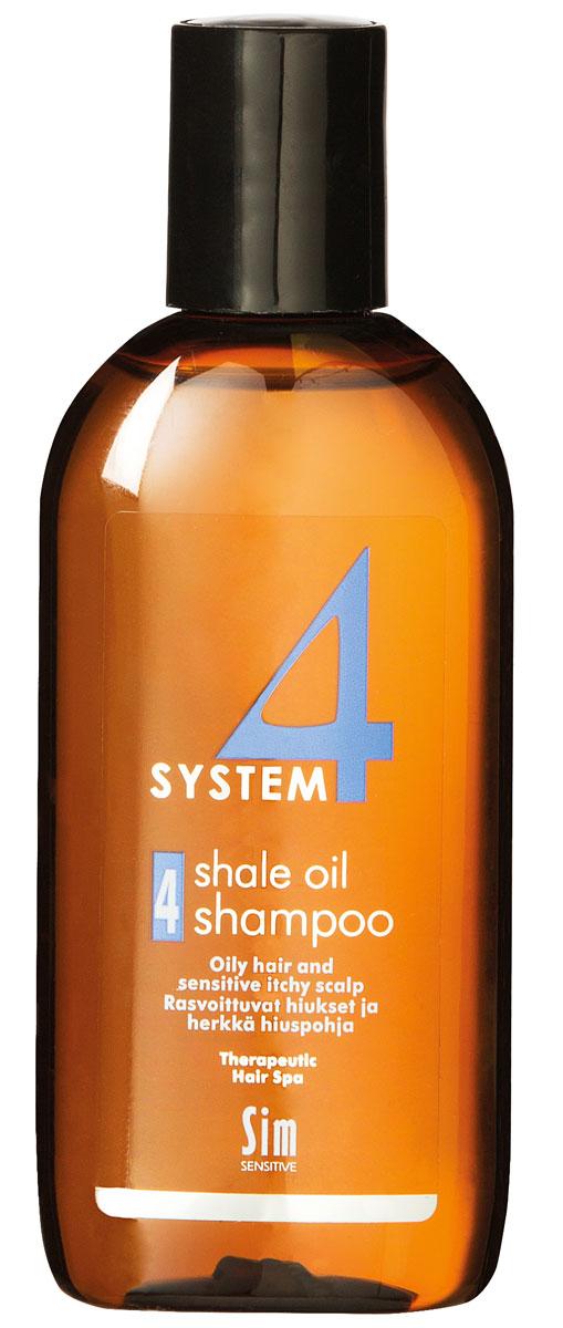Sim Sensitive Терапевтический шампунь № 4 SYSTEM 4 Shale Oil Shampoo 4,100 мл5414КАК РАБОТАЕТ:салициловая кислота активно очищают кожу головы, сланцевое масло регулирует активность сальных желез. Розмарин и ментол освежают и дезинфицируют кожу головы. Пироктон оламин и климбазол устраняют грибок и восстанавливают микрофлору кожи головы. Входящие в состав амфотерные ПАВы, обладают мягкими моющими свойствами.БОРЕТСЯ С: чрезмерной жирностью волос и кожи головы зудом кожи головы жирной перхотью