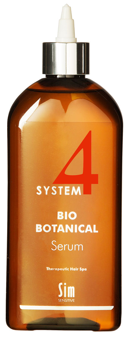 SIM SENSITIVE Био Ботаническая Сыворотка SYSTEM 4 Bio Botanical Serum, 500 млjf411220КАК РАБОТАЕТ: сыворотка – главный и наиболее сильный препарат в комплексе за счет входящих в состав растительных экстрактов репейника, настурции, крапивы, розмарина, а также комплекса витаминов C, E, PP, B6. Стимулирует активное деление клеток волосяных фолликул и утолщение волос.
