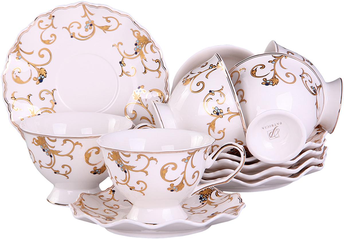 Чайный сервиз Patricia, 12 предметов. IM52-4200IM52-4200Чайный сервиз Patricia на 6 персон изготовлен из качественного фарфора и оформлен красивым орнаментом. Элегантный и удобный чайный сервиз не только украсит сервировку стола, но и поднимет настроение и превратит процесс чаепития в одно удовольствие.Сервиз состоит из 12 предметов: шести чашек и шести блюдец, упакованных в подарочную коробку. Чашки имеют удобную, изящную ручку.Изделия легко и просто мыть.Объем чашки: 200 мл.Диаметр блюдца: 12 см.