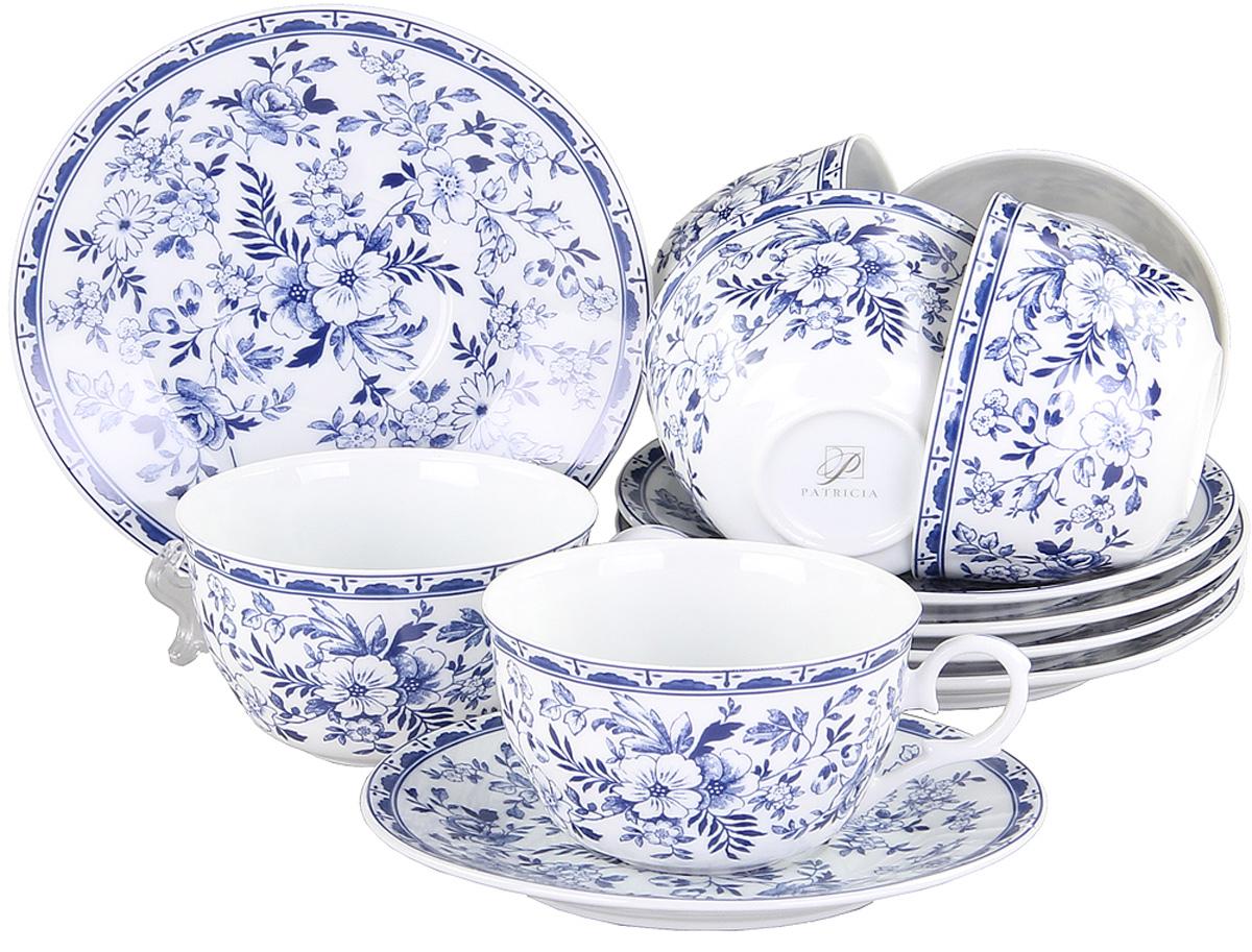 """Чайный набор Patricia """"Флер"""" состоит из 6  чашек и 6 блюдец. Изделия выполнены из  высококачественного фарфора и оформлены ярким  цветочным рисунком.  Такой набор изящно дополнит сервировку стола к  чаепитию. Не  рекомендуется мыть в посудомоечной машине и  использовать в микроволновой печи. Объем чашки: 250 мл."""