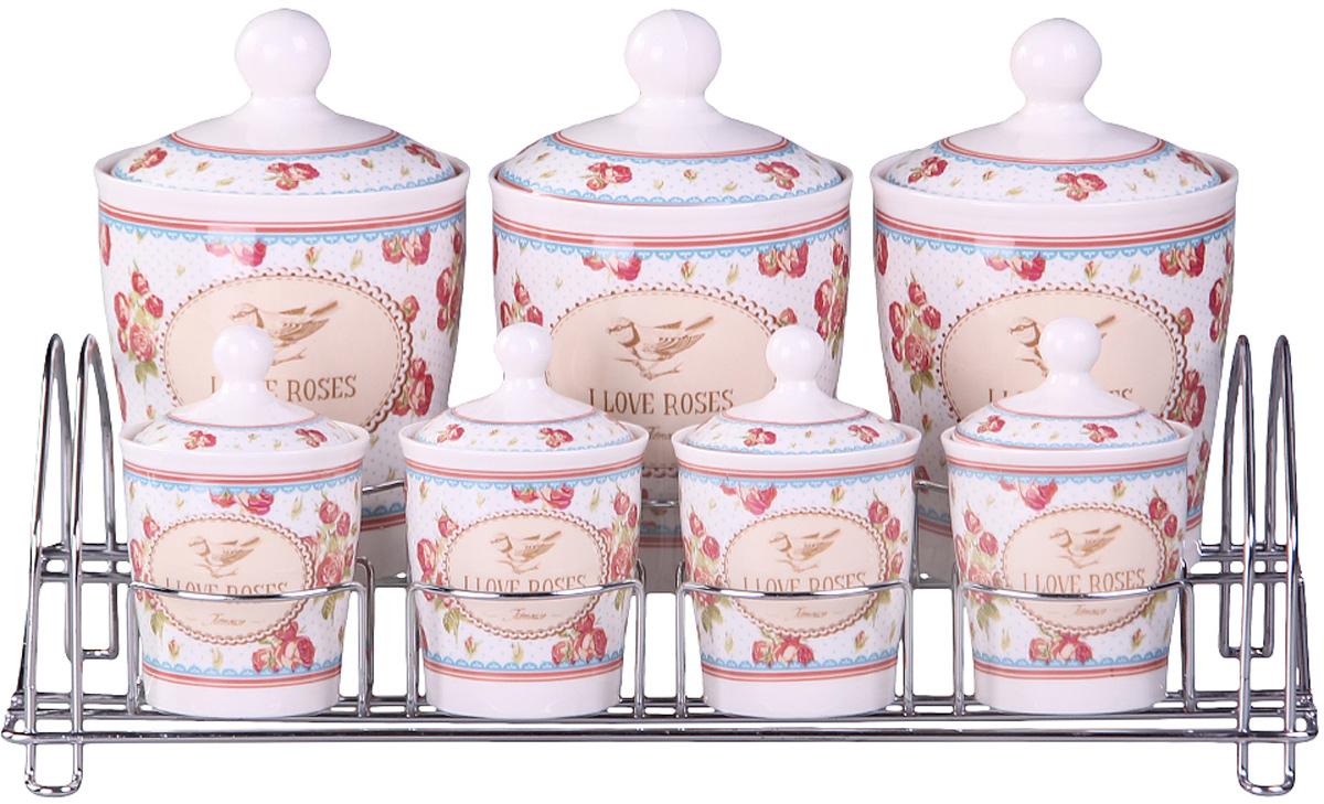 Набор банок Patricia, на подставке, 7 предметов, 800 мл, 200 мл. IM99-5201IM99-5201Набор банок на металлической подставке выполнены из высококачественного фарфора, включает в себя 7 банок различных размеров. Плотно закручивающая крышка на банке позволит хранить чай,кофе и многие другие сыпучие продукты. А дизайн таких банок украсит кухню любой хозяйки.