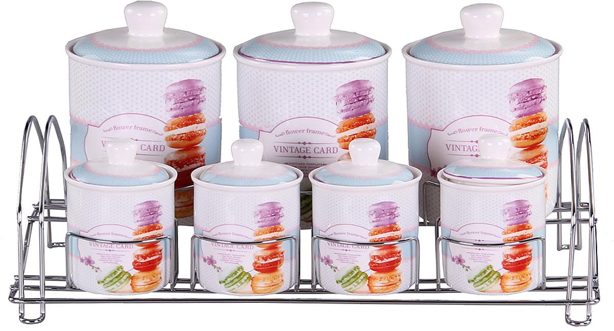 Набор банок Patricia, на подставке, 7 предметов, 800 мл, 200 мл. IM99-5204IM99-5204Набор банок на металлической подставке выполнены из высококачественного фарфора, включает в себя 7 банок различных размеров. Плотно закручивающая крышка на банке позволит хранить чай,кофе и многие другие сыпучие продукты. А дизайн таких банок украсит кухню любой хозяйки.