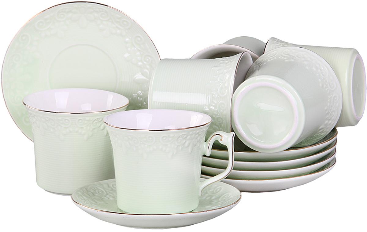 Набор чайный Patricia, цвет: светло-зеленый, 200 мл, 12 предметовIM99-5218Приятно посидеть небольшой дружной компанией в уютной гостиной за чашечкой ароматного чая. Для такой душевной компании не лишним будет приобрести соответствующую посуду. Чайный набор включает в себя 12 предметов: 6 чашек и 6 блюдец, все изделия выполнены из фарфора.