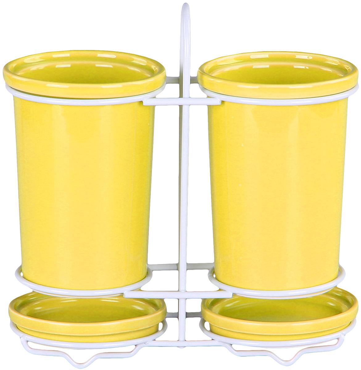 Подставка Patricia для столовых приборов. IM99-5234IM99-5234Подставка для столовых приборов и поддон выполнены из керамики, а специальный держатель из хромированной стали. Применение в производстве специальных эмалей позволяет керамике, используемой в этом изделии, соперничать по своим эстетическим свойствам с фарфором. Поддон для сбора воды легко мыть благодаря удобной конструкции держателя.