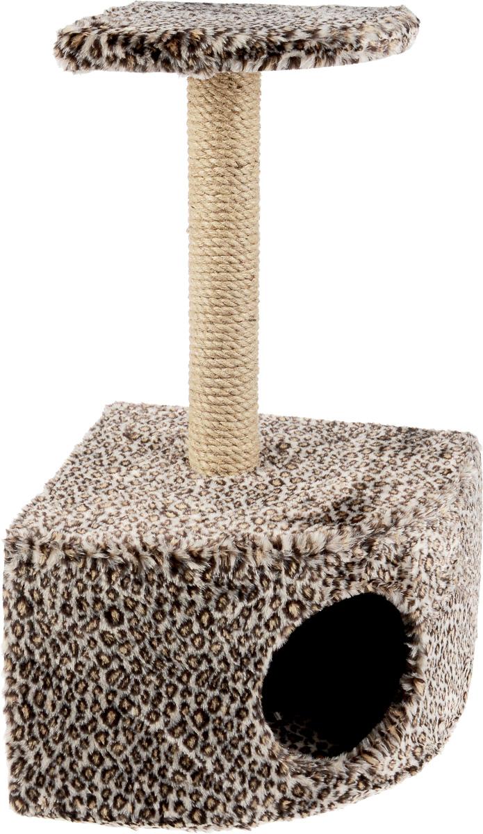 Домик-когтеточка  ЗооМарк , угловой, с полкой, цвет: коричневый, черный, бежевый, 37 х 37 х 68 см - Когтеточки и игровые комплексы