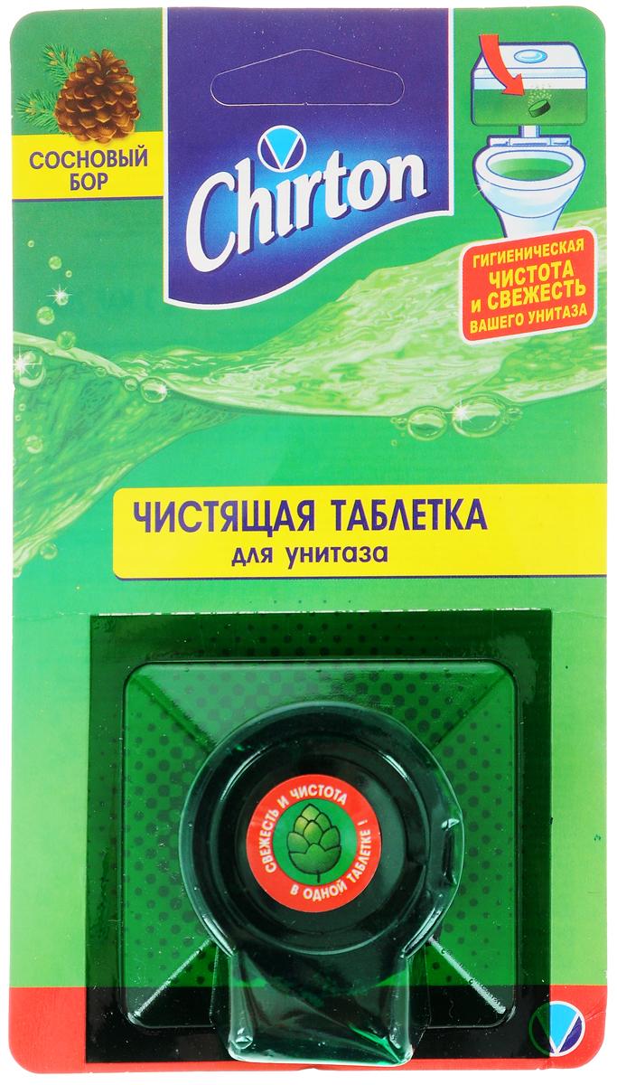 """Чистящая таблетка Chirton """"Сосновый бор"""" без особых хлопот обеспечит гигиеническую чистоту и свежесть вашего туалета в течение длительного времени. Очищает и обеззараживает поверхность унитаза при каждом сливе воды. Предотвращает образование известкового налета. Уничтожает бактерии даже в труднодоступных местах. Обильно вспенивает воду и подкрашивает цвет воды. Имеет стойкий свежий аромат. Товар сертифицирован."""