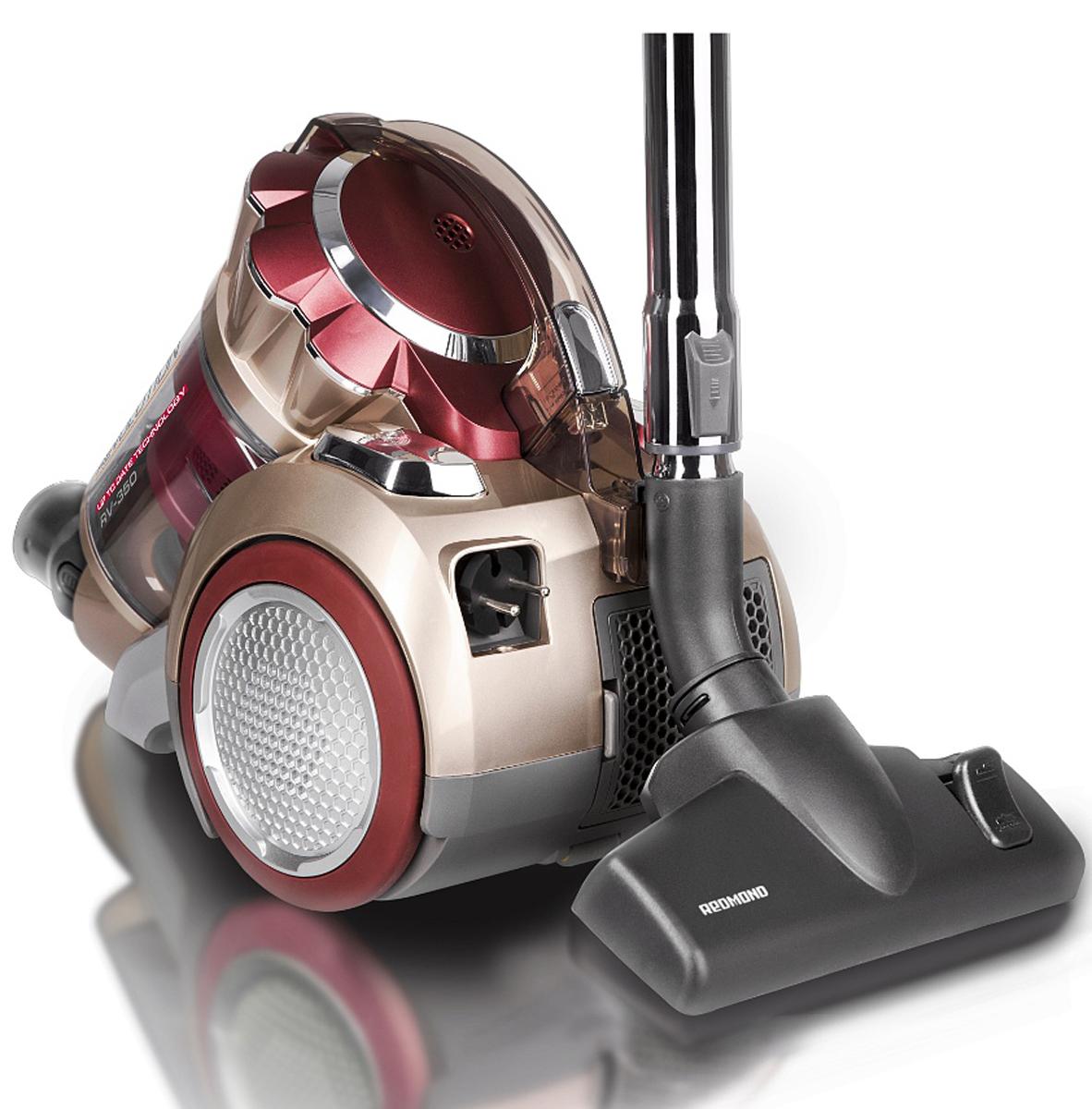 Redmond RV-350 пылесосRV-350Пылесос Redmond RV-350 — новая супермощная модель в невероятно привлекательном космическом дизайне с уникальной системой очистки Мультициклон 12+1 и современным воздушным НЕРА-фильтром. Делать свой дом чище и уютнее стало гораздо проще, быстрее и комфортнее.Пылесос имеет вместительный контейнер для сбора пыли объёмом 1,5 л, надёжный моторный микрофильтр и плавный пуск двигателя. Примечательно, что регулятор мощности располагается на ручке, что обеспечивает дополнительное удобство при использовании высококачественного прибора. Отдельно стоит заявить о комплекте насадок и щёток, который отличается разнообразием — эти аксессуары существенно увеличивают потенциал аппарата: насадка пол / ковёр, насадка для паркета / ламината, турбощётка, щелевая насадка и насадка для чистки мягкой мебели. С таким набором легко справиться почти с любым загрязнением.Redmond RV-350 будет непременно радовать и такими особенностями, как автоматическая смотка электрошнура, эргономичная стальная телескопическая трубка и защита от перегрева. Вы сможете по-новому взглянуть на процесс уборки!Как выбрать пылесос. Статья OZON Гид
