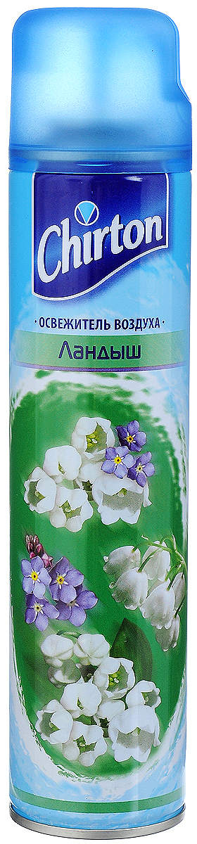Освежитель воздуха Chirton Ландыш, 300 мл30457Освежитель воздуха Chirton Ландыш предназначен для устранения неприятных запахов в различных помещениях. Он обладает длительным действием, надолго наполняя ваш дом благоухающим ароматами.Состав: =30% алифатические углеводороды (бутан, изобутан, пропан), >30% вода.Товар сертифицирован.