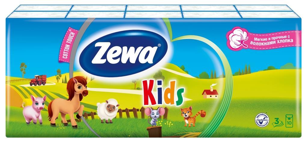 """Бумажные носовые платочки """"Zewa Kids"""", 10х10 шт"""