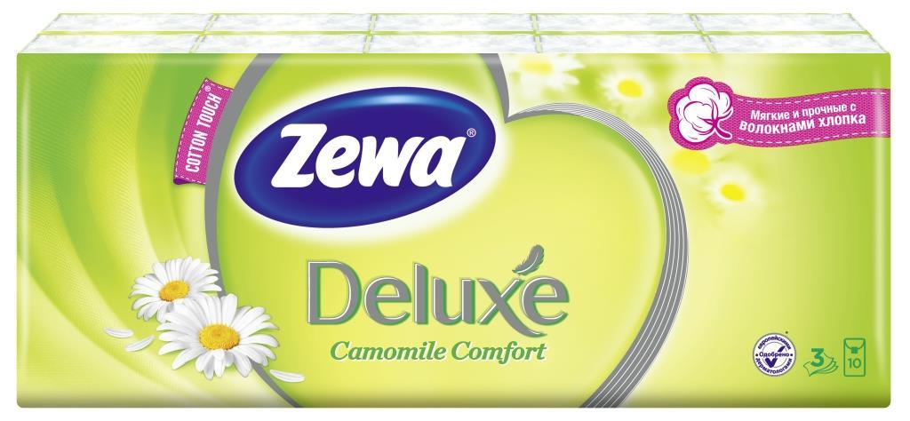 Носовые платки Zewa Deluxe. Ромашка, 3 слоя, 10 шт х 10 носовые платки zewa delux 60 шт