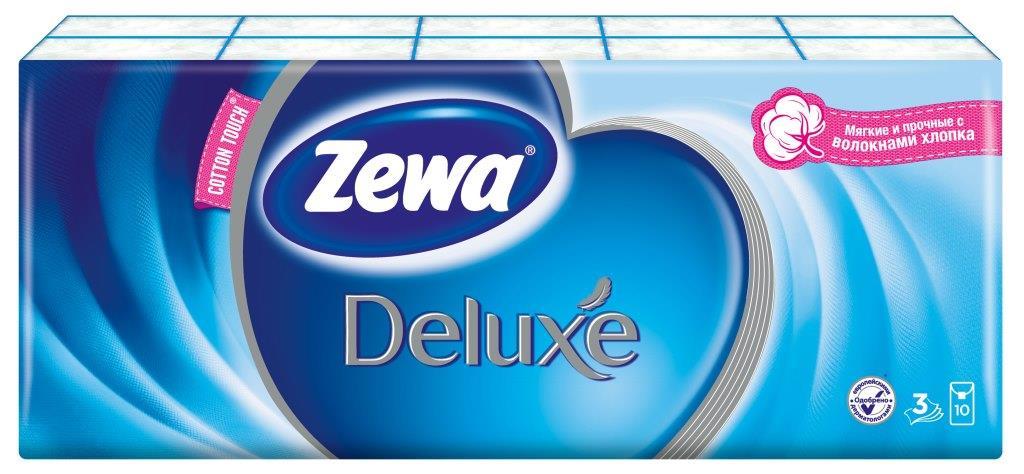 Носовые платки Zewa Deluxe, 10 х 10 шт51174Бумажные платочки Zewa COTTON TOUCH® произведены с добавлением натуральных волокон хлопка и одновременно сочетают в себе мягкость и прочность. Они деликатно и нежно заботятся о Вашей коже и дарят незабываемые ощущения прикосновения хлопка. C Zewa COTTON TOUCH® у вас всегда под рукой гигиеничный и надежный помощник! Белые 3-х слойные носовые платки без аромата. По 10 платков в индивидуальной упаковке. В блоке 10 индивидуальных упаковок. Состав: целлюлоза, волокно хлопка. Производство: Россия.