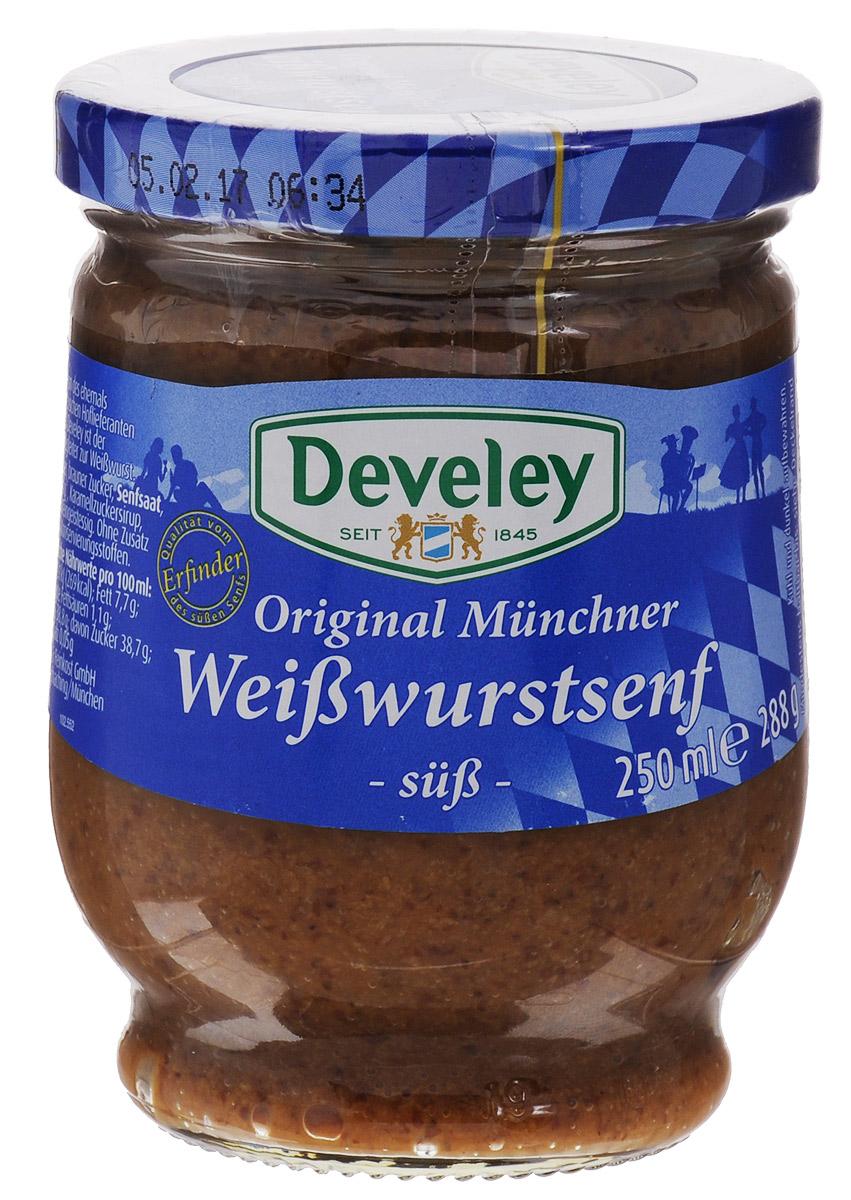 Develey Баварская горчица сладкая, 250 мл7224Уникальная рецептура сладкой Баварской горчицы создана Johann Conrad Develey в 1854 году. Сладкий и мягкий вкус прекрасно сочетается с традиционными Баварскими сосисками.