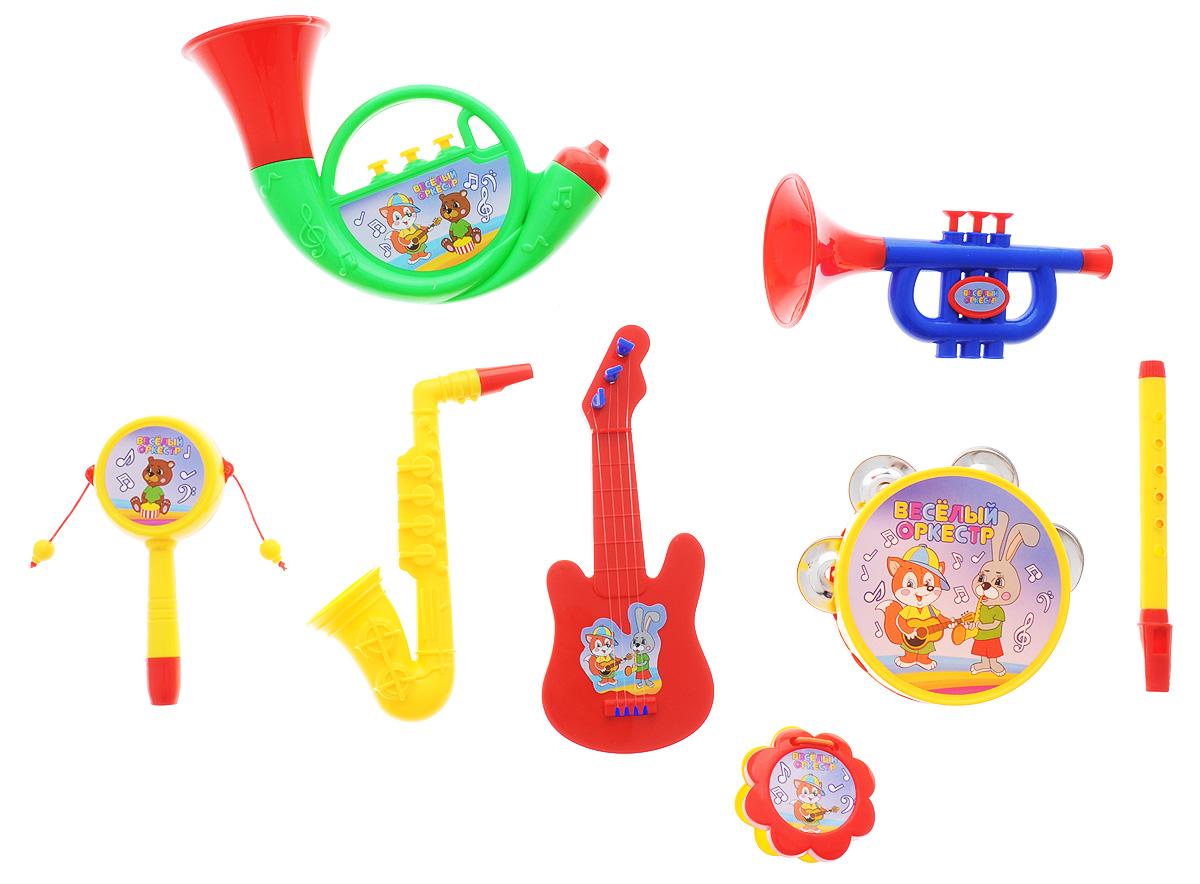 ABtoys Набор музыкальных инструментов Веселый оркестр цвет трубы зеленый 8 предметов