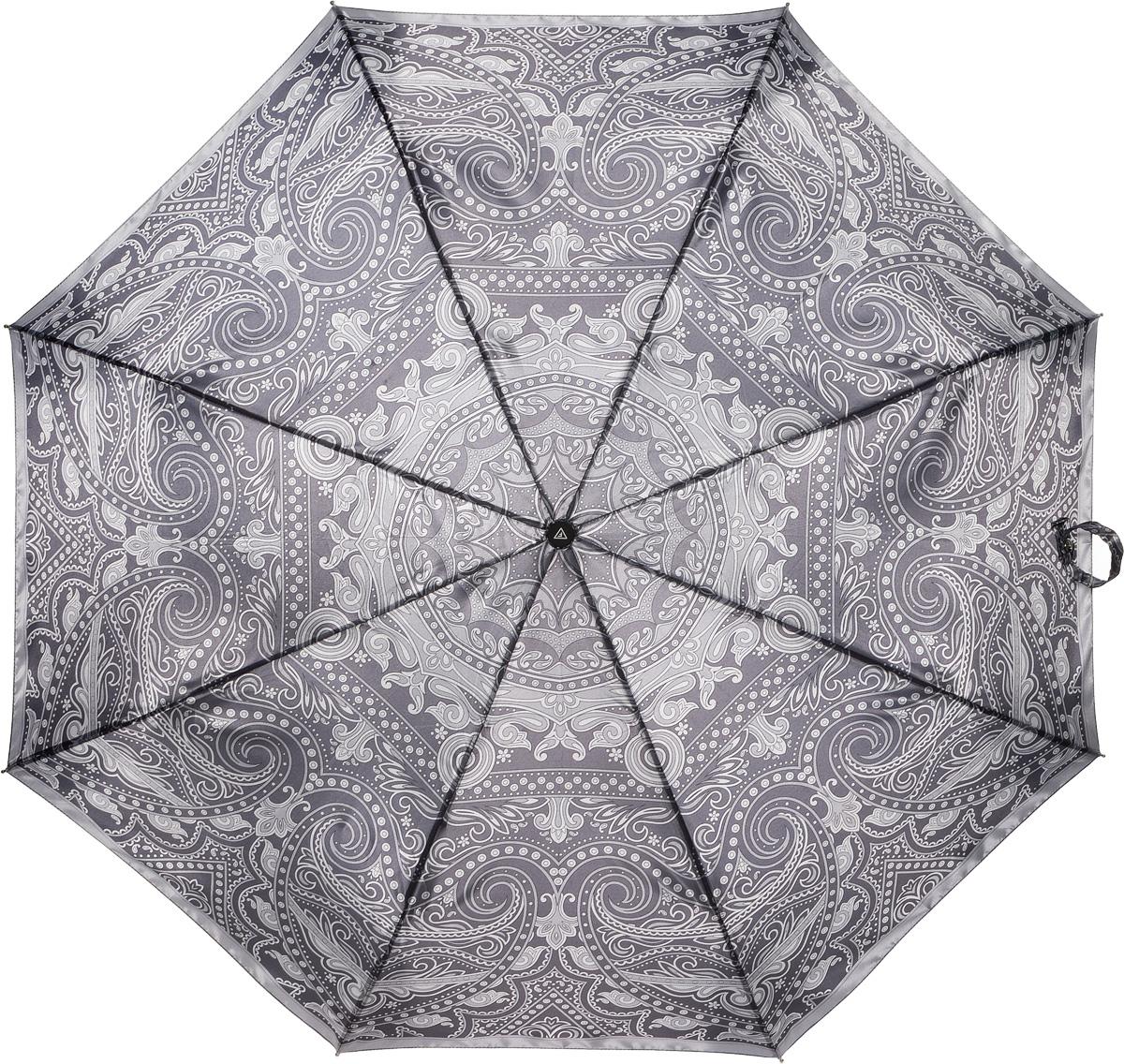 Зонт женский Fabretti, полный автомат, 3 сложения, цвет: серый. S-16100-4