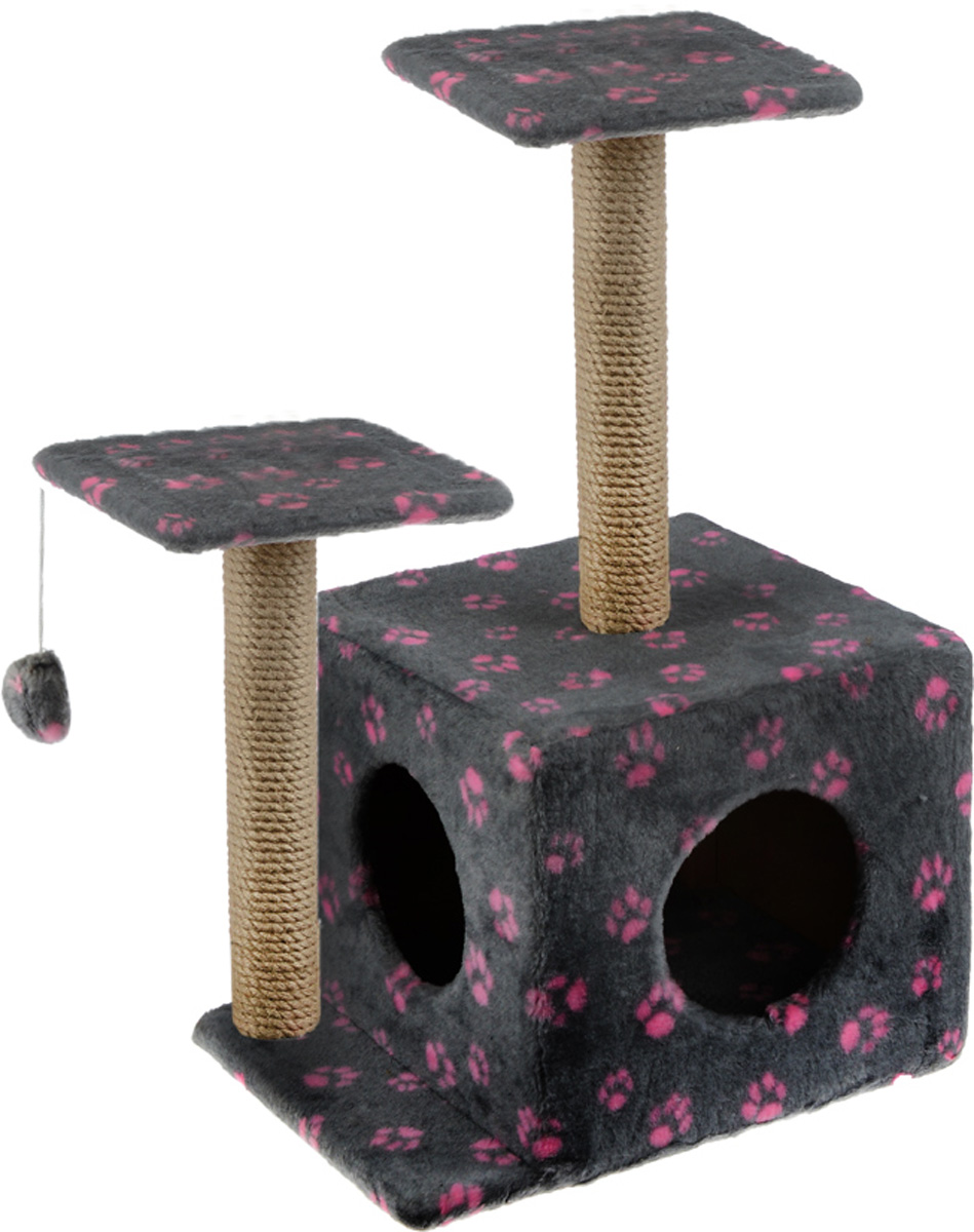 Игровой комплекс для кошек Меридиан, с домиком и когтеточкой, цвет: светло-серый, бежевый, розовый, 45 х 47 х 75 смД131 Ла_светло-серый, розовыйИгровой комплекс для кошек Меридиан выполнен из высококачественного ДВП и ДСП и обтянут искусственным мехом. Изделие предназначено для кошек. Ваш домашний питомец будет с удовольствием точить когти о специальный столбик, изготовленный из джута. А отдохнуть он сможет либо на полках разной высоты, либо в расположенном внизу домике. Также комплекс оснащен подвесной игрушкой, которая привлечет вашего питомца.Общий размер: 45 х 47 х 75 см.Размер домика: 45 х 36 х 32 см.Высота полок (от пола): 75 см, 45 см.Размер полок: 26 х 26 см.