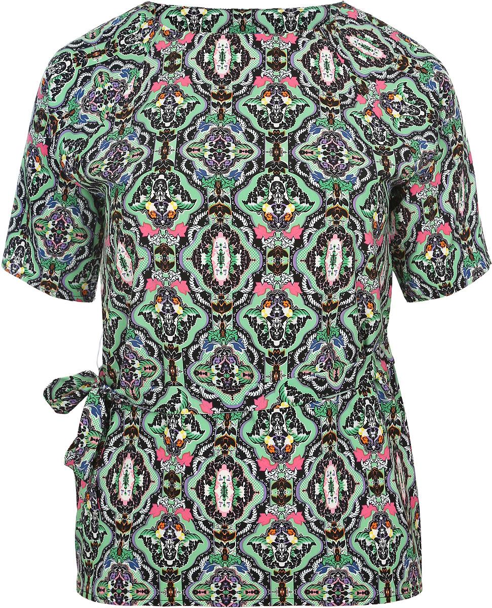 Блузка женская Milana Style, цвет: зеленый, мультиколор. 931м. Размер XXL (52)931мСтильная женская блузка Milana Style, выполненная из эластичного полиэстера с добавлением вискозы, подчеркнет ваш уникальный стиль и поможет создать оригинальный женственный образ.Блузка с рукавами-реглан до локтя и круглым вырезом горловины дополнена узким текстильным поясом в тон изделия. Модель украшена мелким орнаментом. Такая блузка идеально подойдет для жарких летних дней. Легкая и удобная блузка будет дарить вам комфорт в течение всего дня и послужит замечательным дополнением к вашему гардеробу.