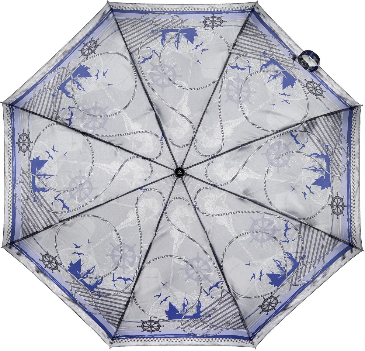 Зонт женский Fabretti, автомат, 3 сложения, цвет: серый, синий. L-16105-3