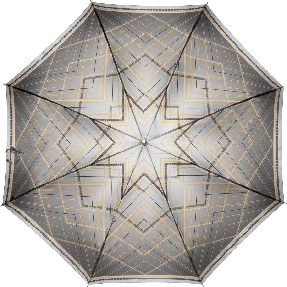 Зонт-трость женский Fabretti, механика, цвет: серый. 1607