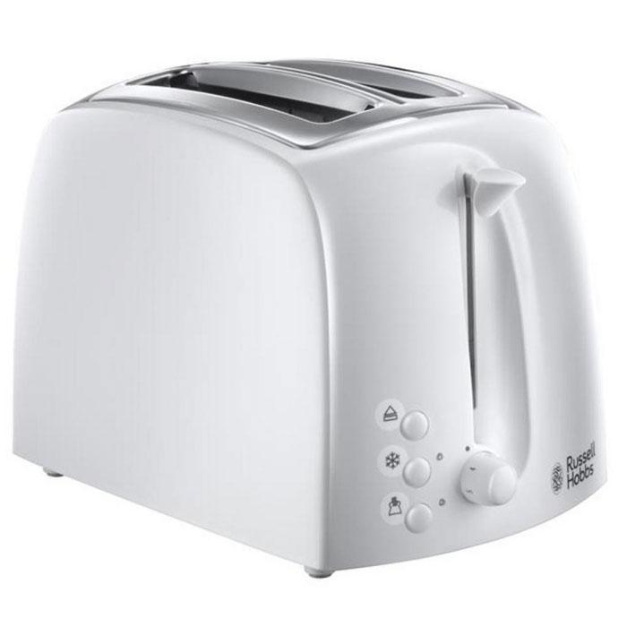 Russell Hobbs 21640-56, White тостер электрический21640-56Тостер Russell Hobbs 21640-56 сочетает в себе качество и уникальный стиль, воплощенные в корпусе из комбинированного глянцевого и матового белого пластика, а функциональность не останется недооцененной. Широкие и длинные слоты позволяют поджаривать и багеты, и толстые ломтики хлеба, подогревать сдобные пышки и сохранять горячими тосты, круассаны и булочки бриошь. Если вы предпочитаете слегка подрумяненные тосты, а кто-то из вашей семьи наоборот любит хорошо поджаренный хрустящий хлеб, функция регулировки степени поджаривания гарантирует превосходно приготовленные тосты под любой вкус. Кроме функций Остановки приготовления и Разогрева, тостер Textures оснащен функцией размораживания, с помощью который вы можете готовить свежайшие тосты из замороженного хлеба. Не только функциональность, но и внешний дизайн делают тостер Russell Hobbs 21640-56 особенным. Сочетание матовых и глянцевых поверхностей с хромированными элементами корпуса тостера прекрасно подойдут под любой кухонных гарнитур.