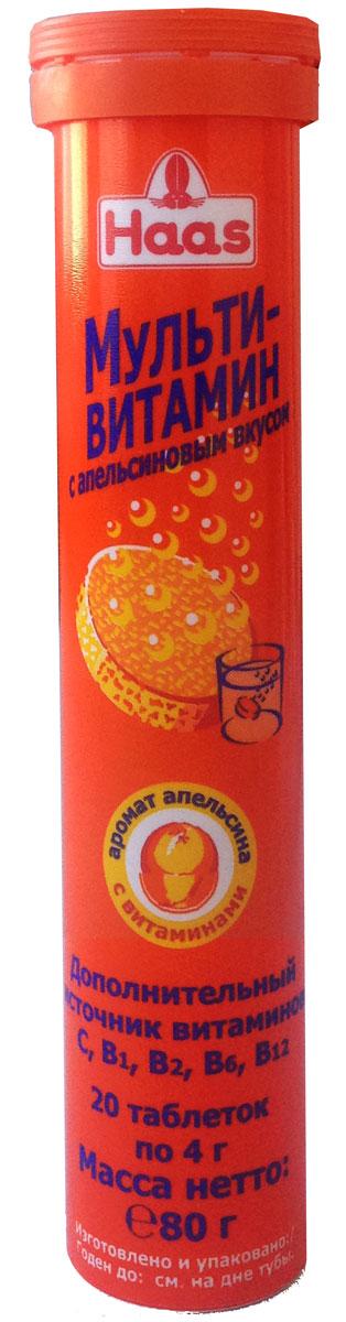 "Шипучий Мультивитамин ""Haas"", с апельсиновым вкусом, 80 г"
