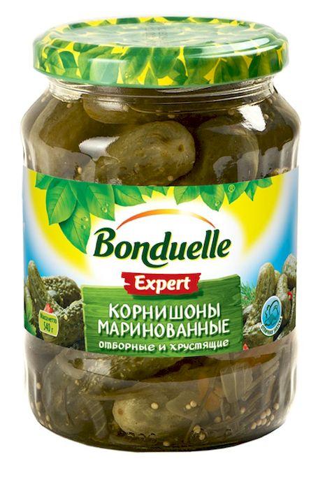 Bonduelle корнишоны маринованные, 540 г3404Традиционная рецептура пряного маринада - кисло-сладкого, сдобренного зернами горчицы и кусочками болгарского перца - добавляет им особую легкую пикантность, что особенно хорошо, если использовать огурцы как самостоятельную закуску.