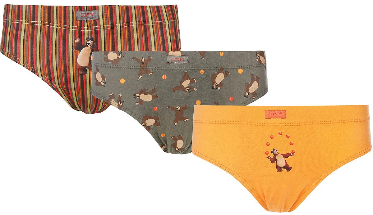 Трусы для мальчика Lowry Маша и Медведь, цвет: оранжевый, серо-зеленый, мультиколор, 3 шт. BB-263. Размер XXS (86/92) трусы lowry трусы