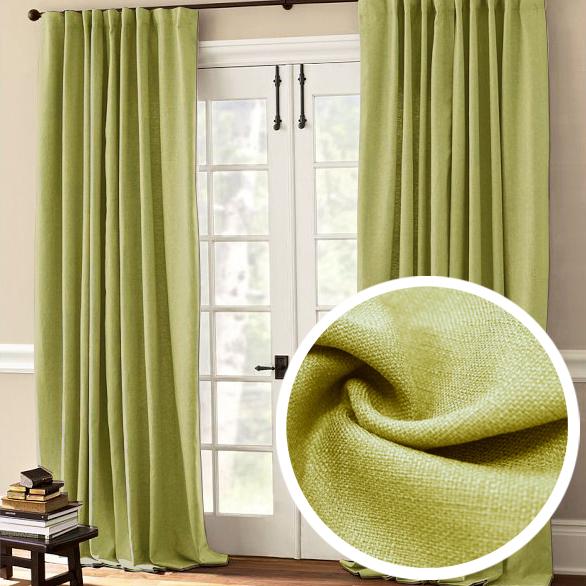 Штора Amore Mio Лен, на ленте, цвет: зеленый, высота 270 см, 2 шт74657Штора Amore Mio из плотной ткани, имитирующей натуральный лен, с мягким сатиновым бликом придаст современный вид любому интерьеру. Изготовлена из 100% полиэстера. Полиэстер - вид ткани, состоящий из полиэфирных волокон. Ткани из полиэстера легкие, прочные и износостойкие. Такие изделия не требуют специального ухода, не пылятся и почти не мнутся.Крепление к карнизу осуществляется при помощи вшитой шторной ленты.