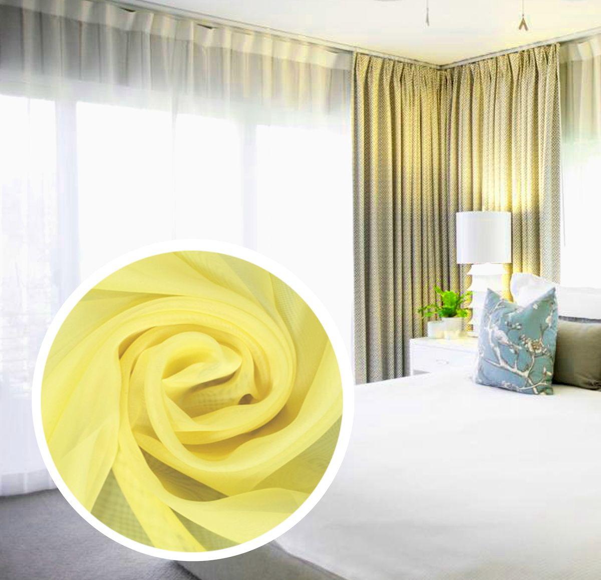 Тюль Amore Mio Однотонный, на ленте, цвет: желтый, высота 270 см75384Тюль Amore Mio нежного цвета в классическом однотонном исполнении изготовлен из 100% полиэстера. Воздушная ткань привлечет к себе внимание и идеально оформит интерьер любого помещения. Полиэстер - вид ткани, состоящий из полиэфирных волокон. Ткани из полиэстера легкие, прочные и износостойкие. Такие изделия не требуют специального ухода, не пылятся и почти не мнутся.Крепление к карнизу осуществляется при помощи вшитой шторной ленты.
