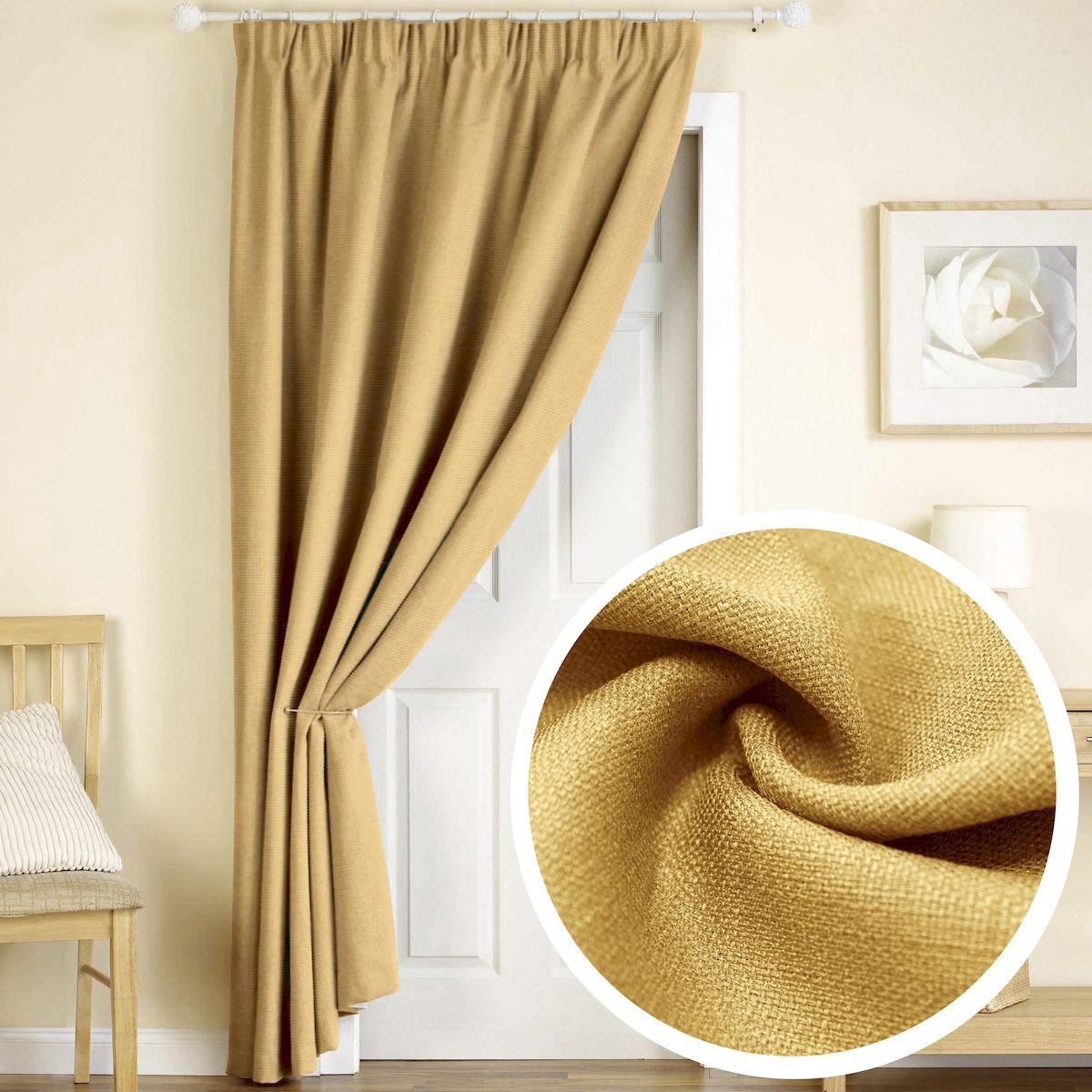 Штора Amore Mio Лен, на ленте, цвет: желтый, высота 270 см77506Штора Amore Mio из плотной ткани, имитирующей натуральный лен, придаст современный вид любому интерьеру. Изготовлена из 100% полиэстера. Полиэстер - вид ткани, состоящий из полиэфирных волокон. Ткани из полиэстера легкие, прочные и износостойкие. Такие изделия не требуют специального ухода, не пылятся и почти не мнутся.Крепление к карнизу осуществляется при помощи вшитой шторной ленты.
