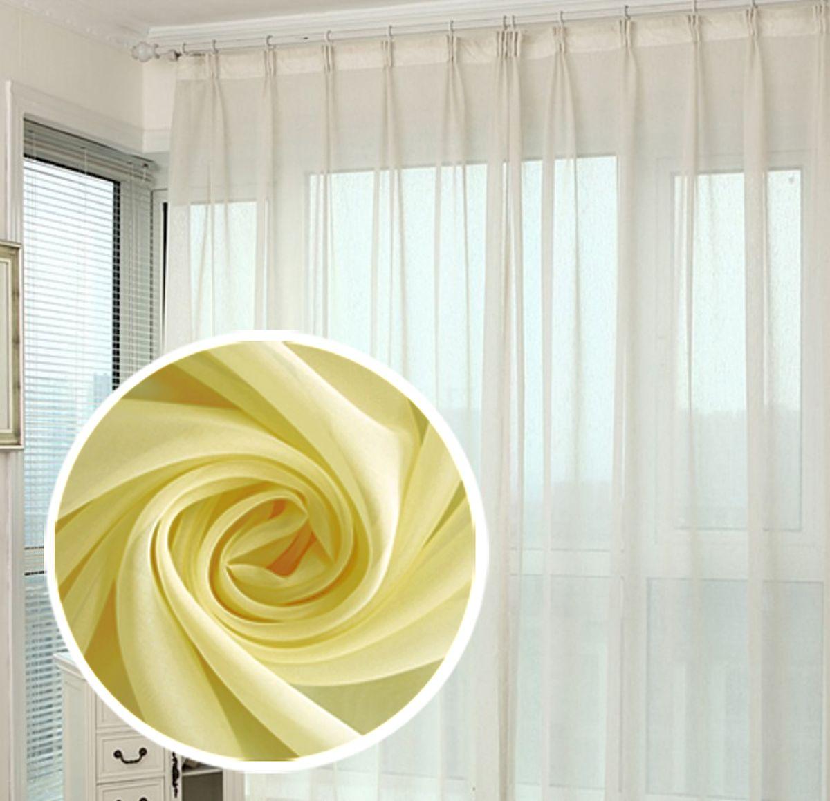 Тюль Amore Mio Однотонный, на ленте, цвет: желтый, высота 290 см78562Тюль Amore Mio нежного цвета в классическом однотонном исполнении изготовлен из 100% полиэстера. Воздушная ткань привлечет к себе внимание и идеально оформит интерьер любого помещения. Полиэстер - вид ткани, состоящий из полиэфирных волокон. Ткани из полиэстера легкие, прочные и износостойкие. Такие изделия не требуют специального ухода, не пылятся и почти не мнутся.Крепление к карнизу осуществляется при помощи вшитой шторной ленты.