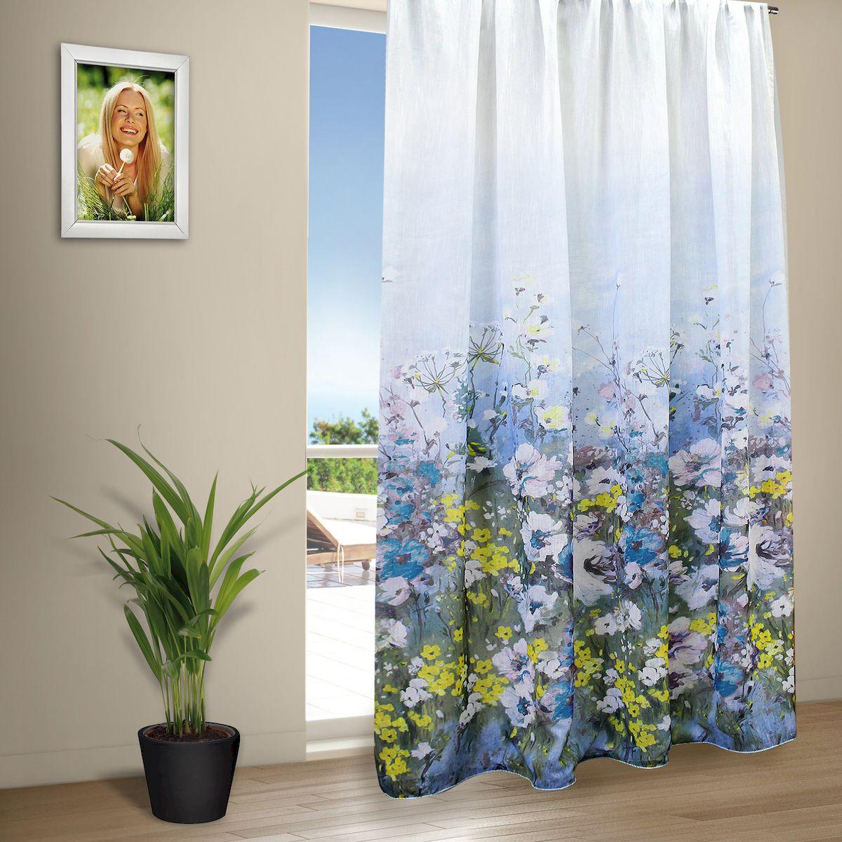 Тюль Amore Mio Лен Акварель, на ленте, цвет: голубой, высота 270 см79739Тюль Amore Mio из легкой матовой ткани, с имитацией натурального льна, изготовлен из 100% полиэстера. Тюль наполняет комнату красками и ароматом цветущего луга.Воздушная ткань привлечет к себе внимание и идеально оформит интерьер любого помещения. Полиэстер - вид ткани, состоящий из полиэфирных волокон. Ткани из полиэстера легкие, прочные и износостойкие. Такие изделия не требуют специального ухода, не пылятся и почти не мнутся.Крепление к карнизу осуществляется при помощи вшитой шторной ленты.