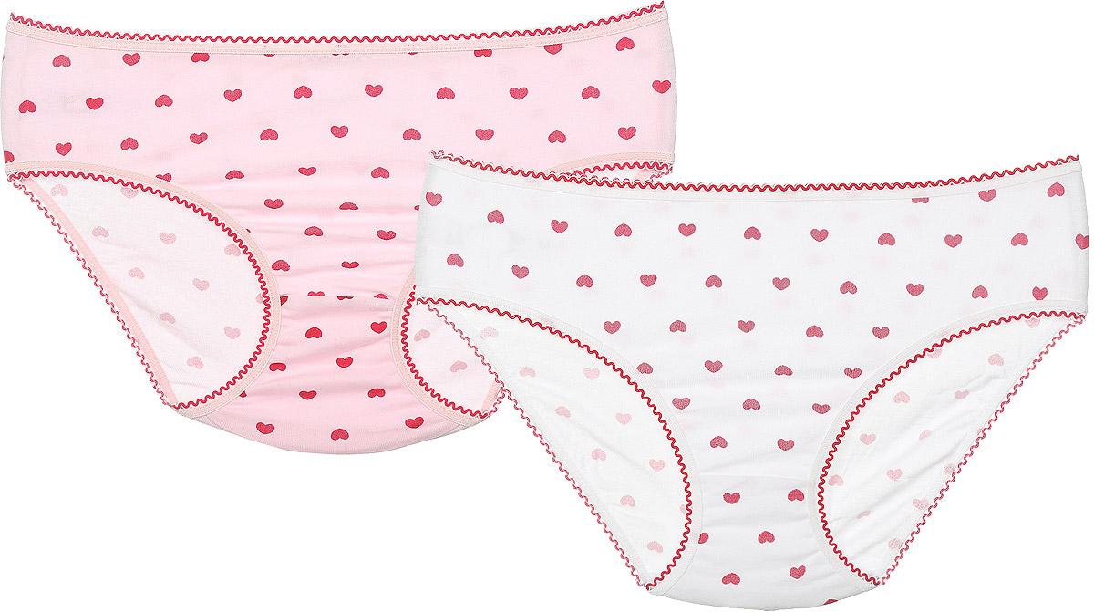 Трусы для девочки Lowry, цвет: белый, светло-розовый, красный, 2 шт. GP-249. Размер M (110/116) трусы lowry трусы 3 шт
