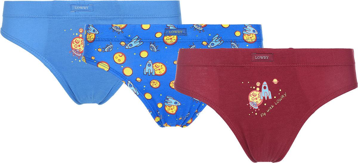 Трусы для мальчика Lowry, цвет: голубой, синий, бордовый, 3 шт. BB-300. Размер XL (36) трусы lowry трусы 3 шт