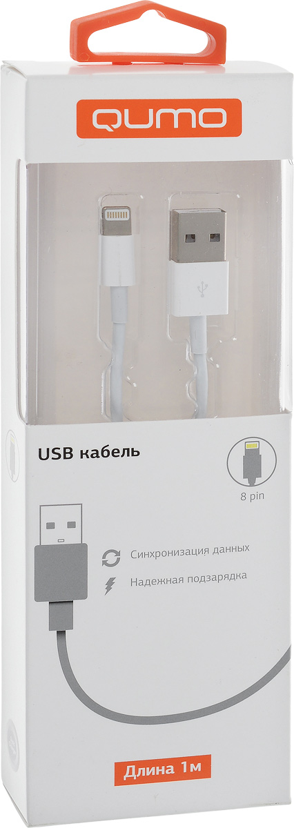 QUMO кабель USB-Apple 8pin круглый, White (1 м) ugreen ug 20727 white кабель usb 2 0 apple lightning 0 5 м