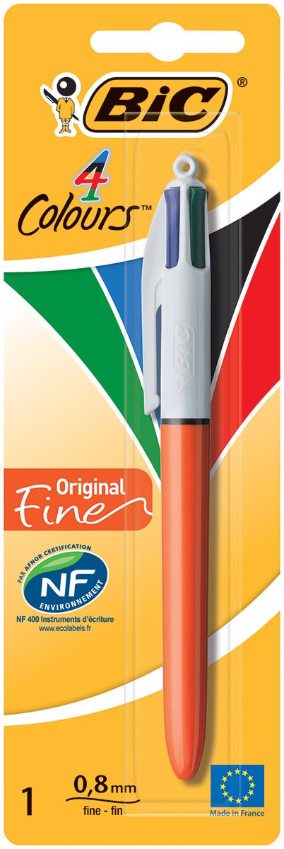 Bic Ручка шариковая Colours Fine 4 в 1 цвет корпуса оранжевыйB802078Автоматическая шариковая ручка Bic Colours Fun - это четырехцветная ручка, позволяющая писать любым из четырех цветов: черным, синим, красным или зеленым.Удобный автоматический механизм, утолщенный корпус.