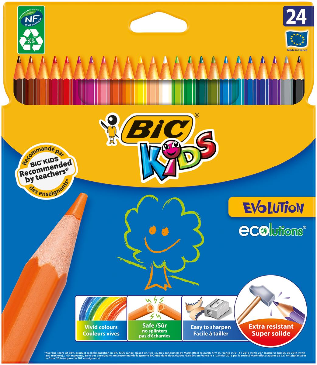 Bic Набор цветных карандашей Evolution 24 цветаB829733Набор цветных карандашей Bic Evolution идеален для ежедневного использования маленькими художниками!В наборе карандаши 24 ярких цветов. Ультрапрочные цветные карандаши изготовлены без использования древесины. Цветной стержень обеспечивает отличную степень закрашивания.